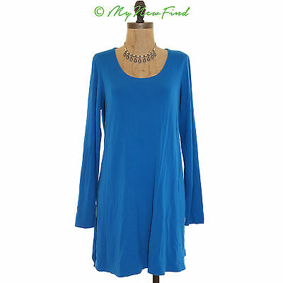 Eileen Fisher Long Sleeve Scoop Neck Stretch Tunic Crystal Blue Top Medium B83
