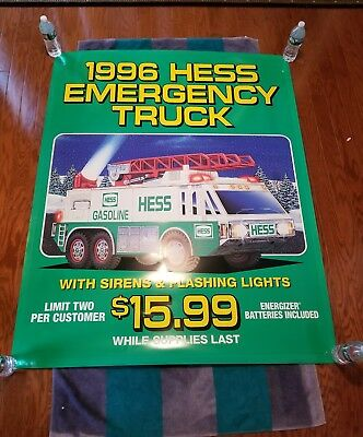 HESS 1996 POSTER SIGN FOR THE emergency truck- 58 IN. by 46 IN