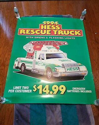 "1994 HESS rescue truck DEALER DISPLAY 58"" X  46"" TOY TRUCK POSTER"