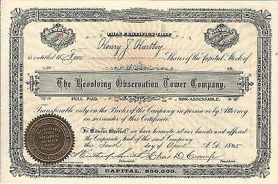 NEW JERSEY Revolving Observation Tower Co Stock Certificate 1895 Atlantic City