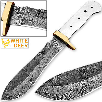 White Deer Blank Blade Damascus Steel Skinner Knife Copper Guard 11in Full Tang