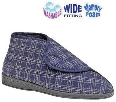 Bootee Slippers X Wide Fit Washable Velcro® Sleepers Blue Mens Size 6-13 UK