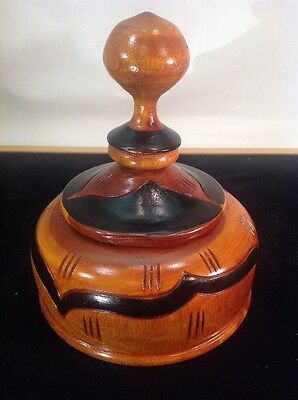 "Vintage Hand Carved & Turned Solid Wood hand turned Bowl w/ Lid 7"" Tall"