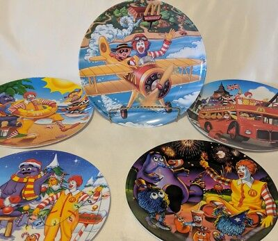 Set of 4  McDonalds 10 Inch Melamine Plates Plane Christmas Fourth July