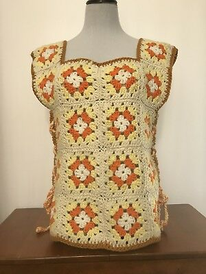 Vtg Granny Square Crocheted Shirt Vest Lace Up Sides