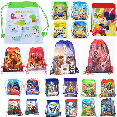 Spiderman Minion Car Kids Drawstring Backpack Shoulder Cute Cartoon Beach PE Bag
