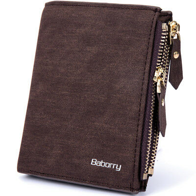 Baborry Vintage Leather Wallet RFID Blocking Men's Purse Bifold Zipper Coin Bag
