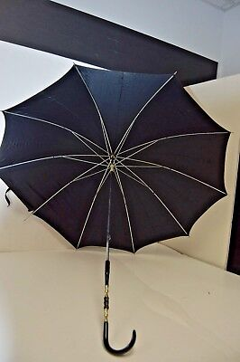 Vintage Parasol Umbrella with Decorative Handle and Brass Accents