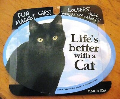 "Prismatix Decal Black Cat Car Refrigerator Magnet,5 3/4"" x 4"" DGM195..sweet!"