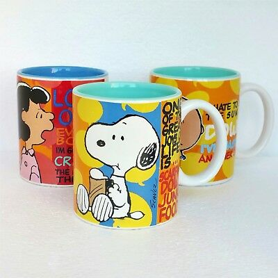 Collectible Peanuts Mug Cup 3pc Lot Charlie Brown Lucy Snoopy Ceramic Glass