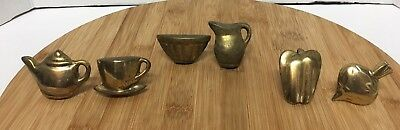 """Antique Brass Draw Pulls Knobs Kitchen Novelty Set of 6 Made in India 2"""""""