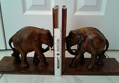 Vintage Pair of Hand Carved Wooden Elephant Book end 9 1/2""
