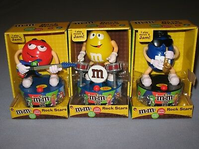 NEW M&M's ROCK STARS SAXOPHONE,  DRUMMER & GUITAR COLLECTIBLE SET OF 3