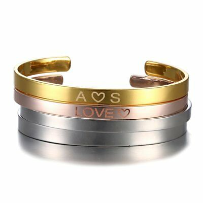 2019 Stainless Steel DIY Personalized Custom Letter Symbol Cuff Bangle Bracelet