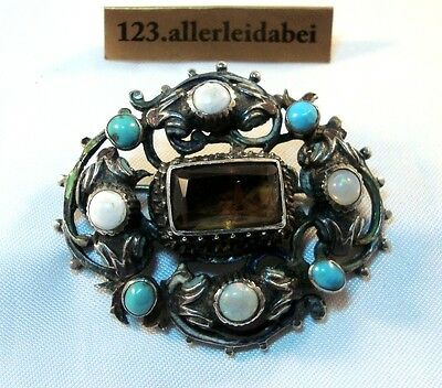 Opal Emaille Brosche Silber Türkis Emaile um 1880 Tracht / AY 574
