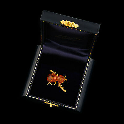 Antique Vintage Art Deco Gold Filled Pressed Amber Nouveau Leaf Vine Pin Brooch