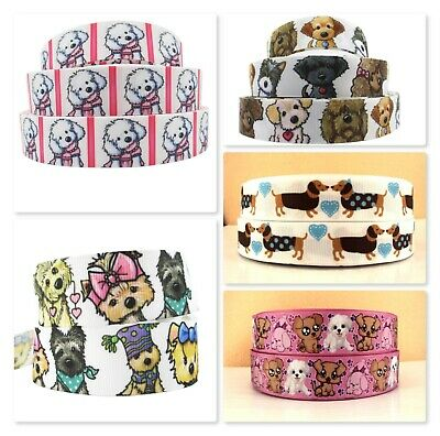 Grosgrain Ribbon - 7/8 & 1 Inch - 22 & 25 mm - Print by the Metre - Dogs