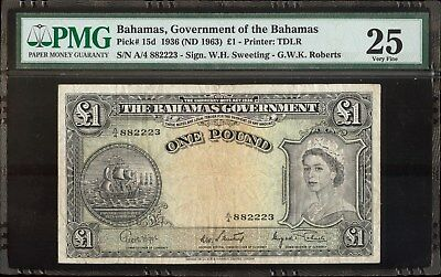 1936 Bahamas, Government of the Bahamas £1(ND 1963) Pick # 15d PMG 25