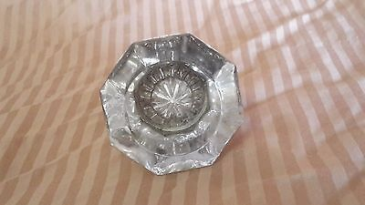 Antique Vintage Glass Crystal Door Knob Clear 8 Sided