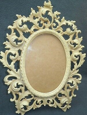 """Vintage Wilton Ornate Cast Iron 12"""" Oval Standing Photo Picture Frame Rococo"""