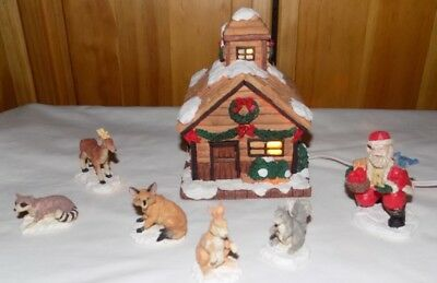 Woodland Christmas Porcelain Lighted Cabin House Villiage Scene Forest