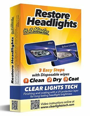 Clear Light Tech Headlight Restore Wipes With Protection UV Lens Restoration Kit