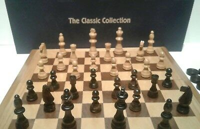 VTG The Classic Collection Chess and Checkers Wood Folding Board Game
