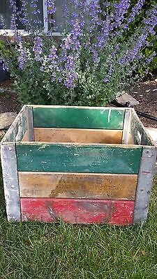 Antique Vintage Cloverleaf  chippy paint Wood Crate metal corners red Yel Green