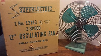"""Vintage Superlectric Superior Electric 12""""  Turquoise ~3 Speed ~Oscillating"""