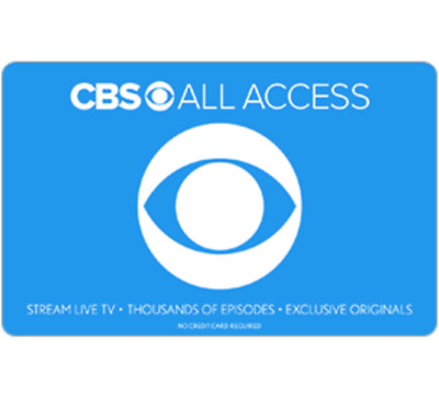 CBS All Access Gift Card - $25 $50 or $100 - Email delivery