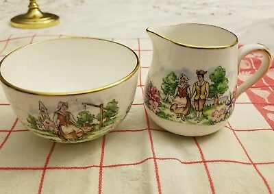 Crown Staffordshire small Pitcher and bowl Vintage English bone China