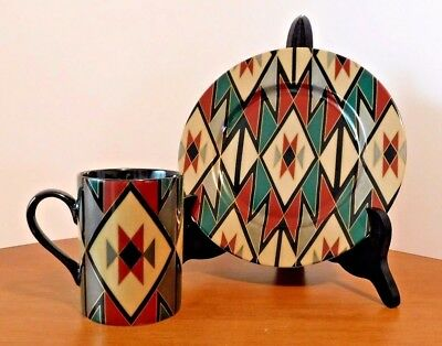 """Fitz and Floyd """"Hopi"""" Pattern 424 Japan  4 Sets of Coffee Mugs and Salad Plates"""