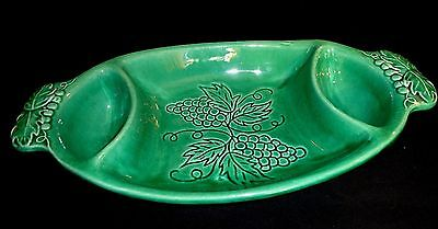 Gorgeous  3 Compartment 2 Handled Grape Embossed Server, Made In Usa # 3736