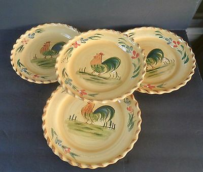 """""""home"""" Pie Crust Rim Rooster Plates (Set Of 4) 8 7/8"""" In Diameter - China (A)"""