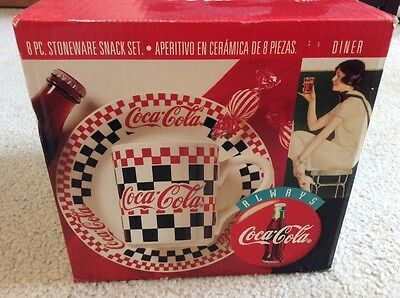 Coca-Cola 8 Piece Stoneware Snack Set