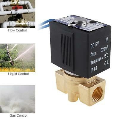 """12V Brass Electric Solenoid Valve 1/2"""" Interface for Air Cannon / Air Compressor"""