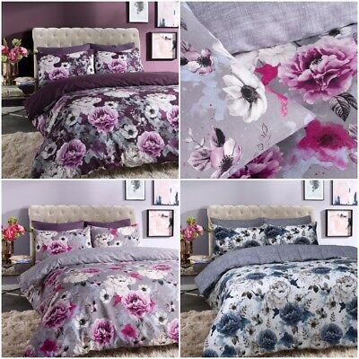 Inky Luxurious Floral Pattern Duvet Cover Sets Reversible Bedding Sets All Sizes