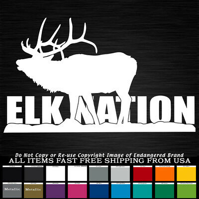 Big Bull Elk huge antlers rack dream catcher round with feathers sticker hunting