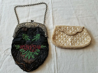 Lot Of 2 Vintage Beaded Embossed Metal Frame Handbags Purses