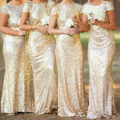 Womens Ball Gown Prom Evening Party Dress Ladies Sequin Bridesmaid Long Dresses