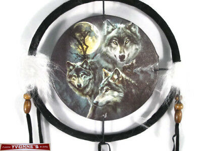 "6.5"" Three Wolf Moon Dream Catcher With Beads,Fur & Feathers Wall Or Decoration"