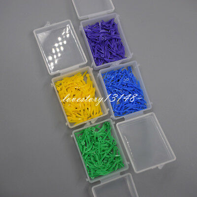 100 Pcs Dental Plastic Poly-Wedges With Holes Round Stern 4 Colors 4 Sizes Sale