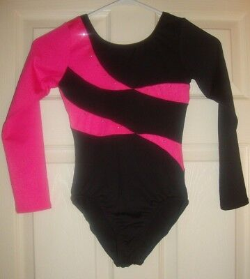 DANSKIN/FREESTYLE~girls~PINK/BLACK/w/STUDS/LONG/SLEEVE/DANCE/LEOTARD! (7/8) NEW!