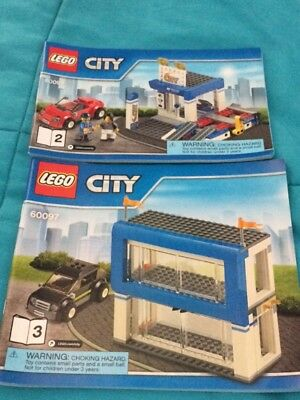 Used 60097 Lego City Town Square Car Repair Shop With Red Race Car & Black Car