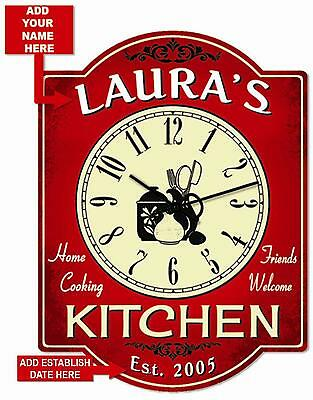 Personalized Red Hardboard Kitchen Clock