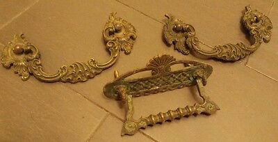 (2) Vintage Brass Victorian Drawer Pulls / Handles -- W/ Original Screws