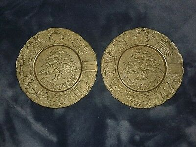 (2) Antique Vintage Lebanon Solid Brass Plates set from early 20th religious art