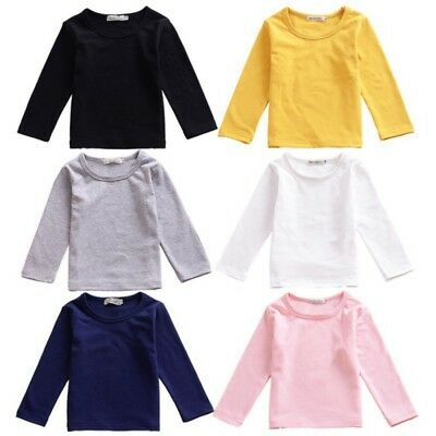 AU Toddler Kid Baby Boy Girl Cotton Long Sleeve T-shirt Blouse Basic Tops Clothe