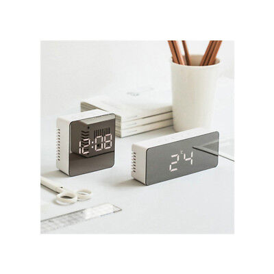 LED Digital Creative Mirror Alarm Clock Snooze USB Night Light Thermometer