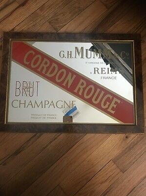 Wood Framed Cordon Rouge Champagne Tavern Bar Mirror Sign Advertising Man Cave